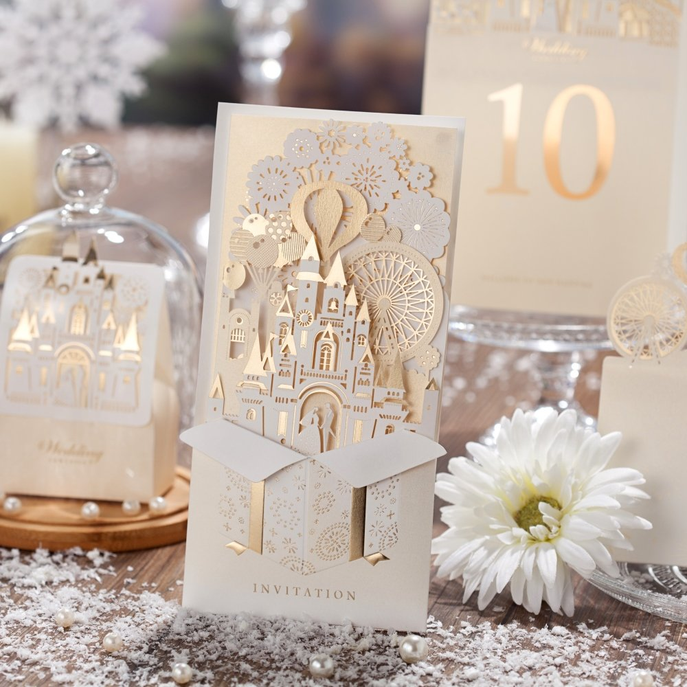 Wishmade 3D Design Elegant Gold Laser Cut Wedding Invitations Cards Bridal Shower Invitations Greeting Cards CW5093 (100 pcs) by wishmade