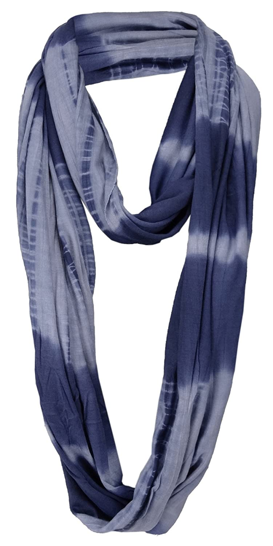 Rundschal Gr 180 x 60 cm Damen Loop Schal in blau dunkelblau Batik Muster