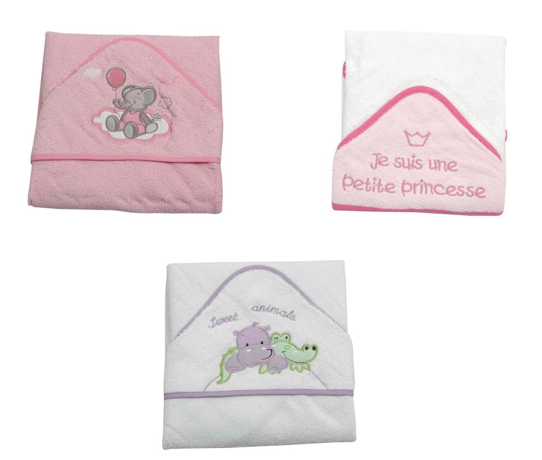 KING BEAR Lot de 3 capes de bain avec capuche, 75x75 cm, coloris et broderies assorti. Testées et approuvées pour la sécurité de bébé