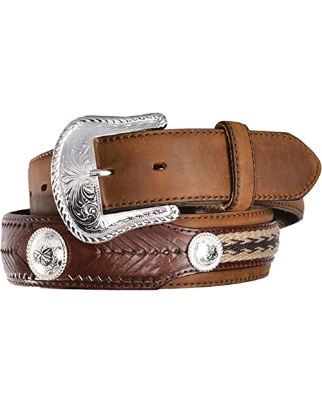 Tony Lama Western Mens Belt Leather Brown Southwest Braided Conchos 7239L
