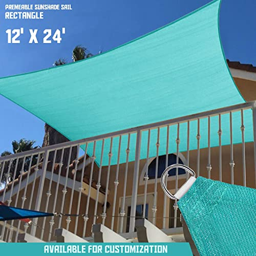 TANG Sunshades Depot 12 x 24 Solid Turquoise Green Sun Shade Sail, Rectangle Permeable Canopy CustomSize Available Commercial Standard 180 GSM HDPE