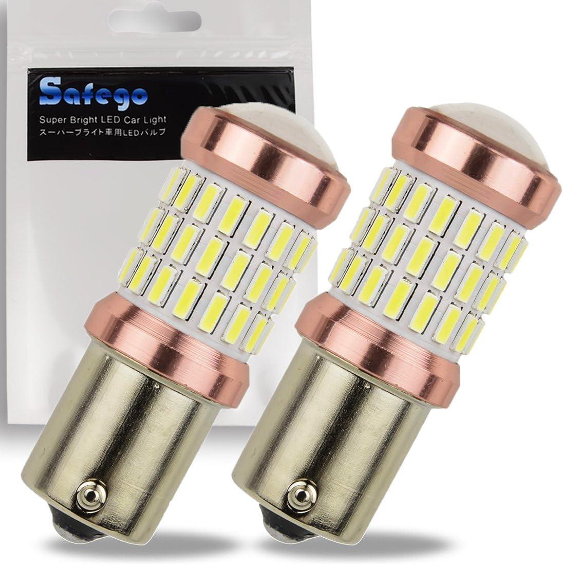 Safego – Bombilla de luz LED blanca P21W 6000K, 1141, superbrillantes de 12 V, 1156 BA15S para faros laterales de luz direccional del coche, 2 unidades