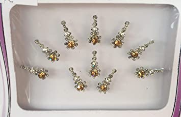B2642 Silber Gold Diamant Bindi Tattoo Stirn Aufkleber