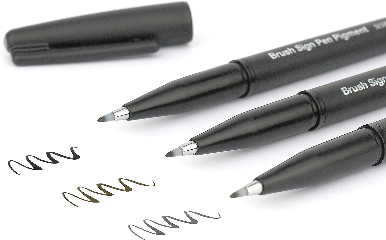 1 St/ück Pentel SESP15-AX Brush Sign Pen Pigment mit pigmentierter Tinte schwarz Faserschreiber pinsel/ähnliche Spitze