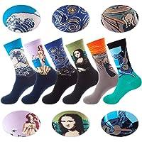 Detontek Calcetines Estampados Para Hombres, 6 Para Calcetines Coloridos Funky Arte Retro Pinturas Famosas Calcetines…