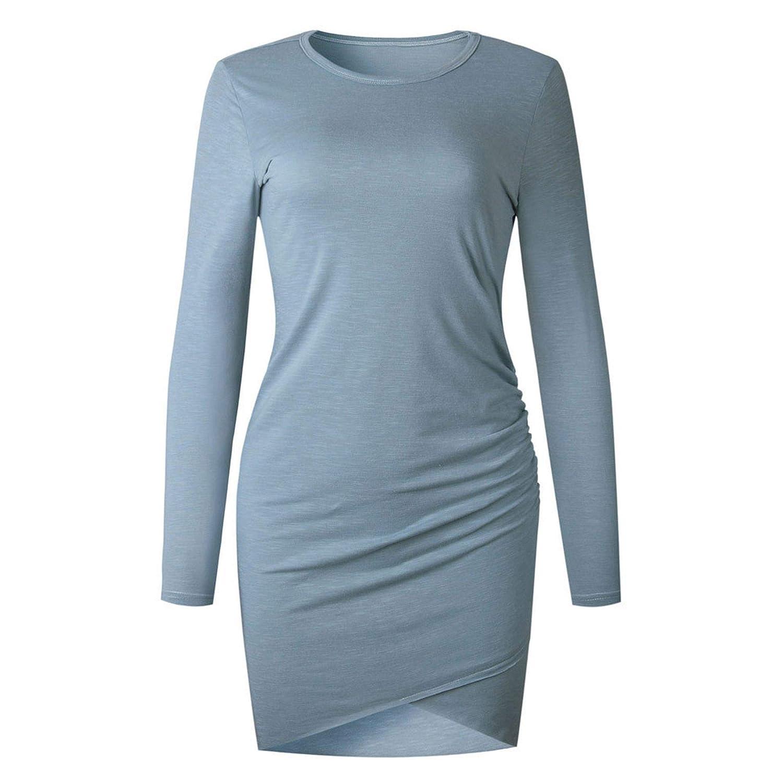 Vanankni Ladies Solid Color Casual Crew Neck Short Hem Ruched Bodycon Irregular Hem Bag Hip Dress