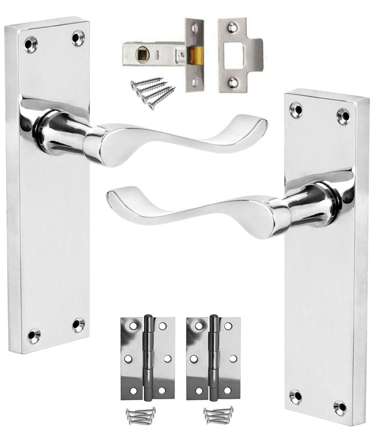 Polished Chrome Scroll Long Plate Lever Latch Door Handles 150mm +Hinges & Latches Discount Hardware UK