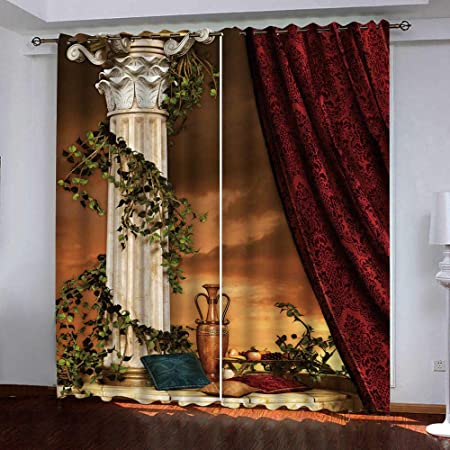 LQYRP 2er Set Gardinen Vorh/änge Blickdicht Lochvorh/änge Weiche Verdunklungsvorh/änge f/ür Schlafzimmer Wohnzimmer Kinderzimmer Kurz H//B 166//150cm,Wolf Muster