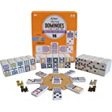 Regal Games Double 15 Colored Dot Dominoes Mexican Train Game Set with Wooden Hub, 136 Domino Tiles, 8 Metal Trains, and…