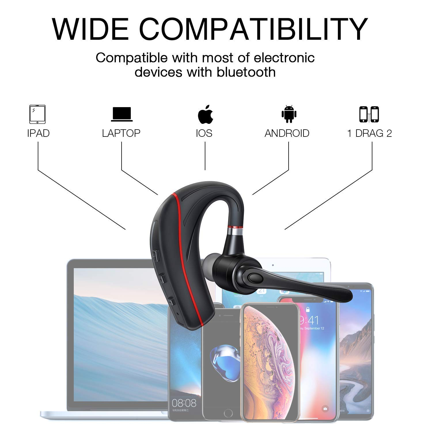 Bluetooth Headset, HandsFree Wireless Earpiece V5.0 with Mic for Business/Office/Driving Call [New Version] by HonShoop (Image #5)