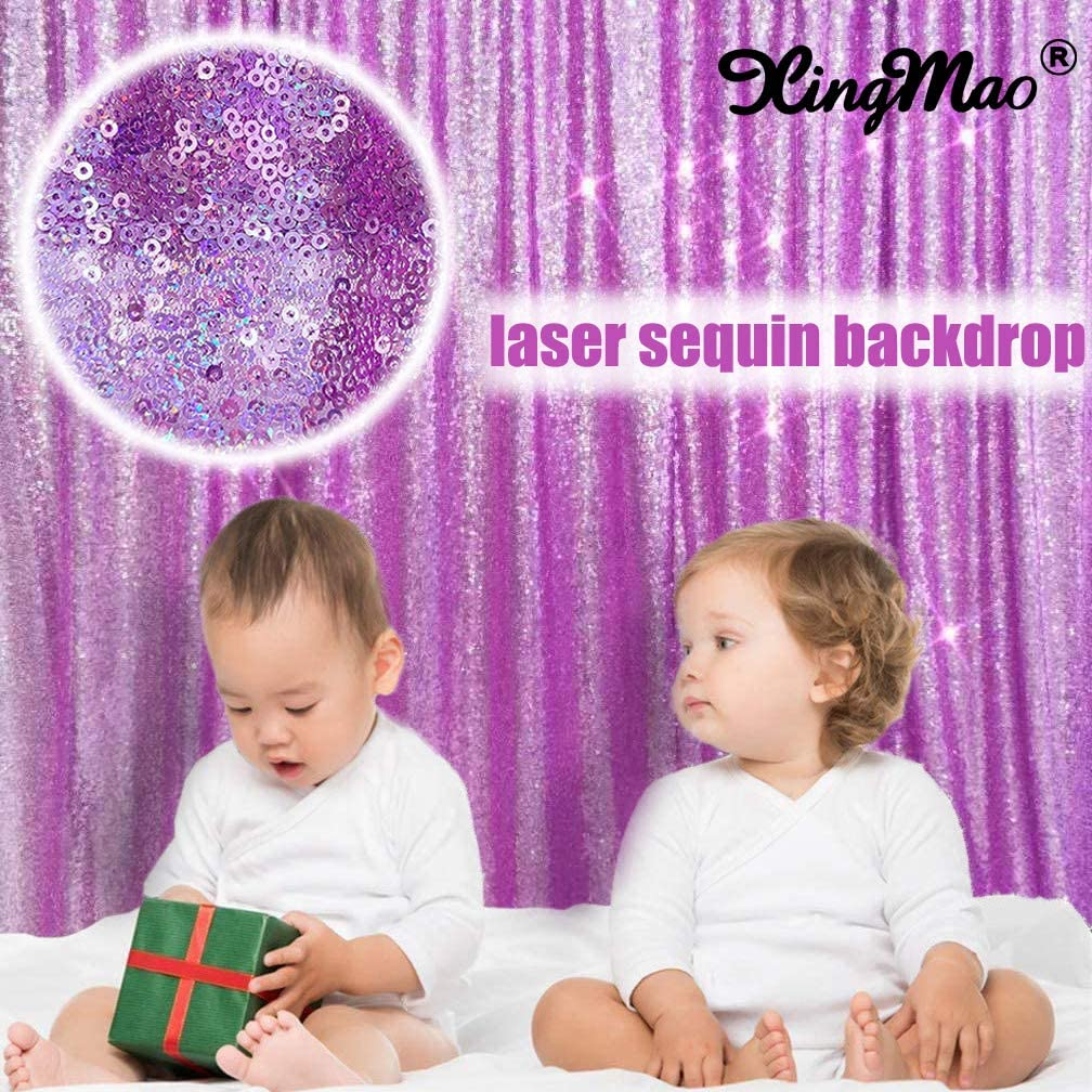 8FTX8FT Sequin Backdrop Sparkling Laser Lavender Purple Baby Birthday Backdrop Party Backdrops Photography Backdrop Boby Backdrop Sparkle Curtain