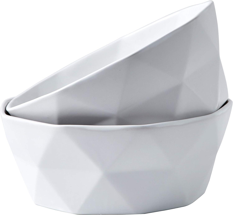 Bruntmor Geometric Modern Matte Set Of 2 Large Salad Serving Bowls 60 Oz Oven Safe. Deep Soup Bowl for Family Servings, Cereal, Salads, Pasta, fruite Bowls, 1.8 Quarts, White