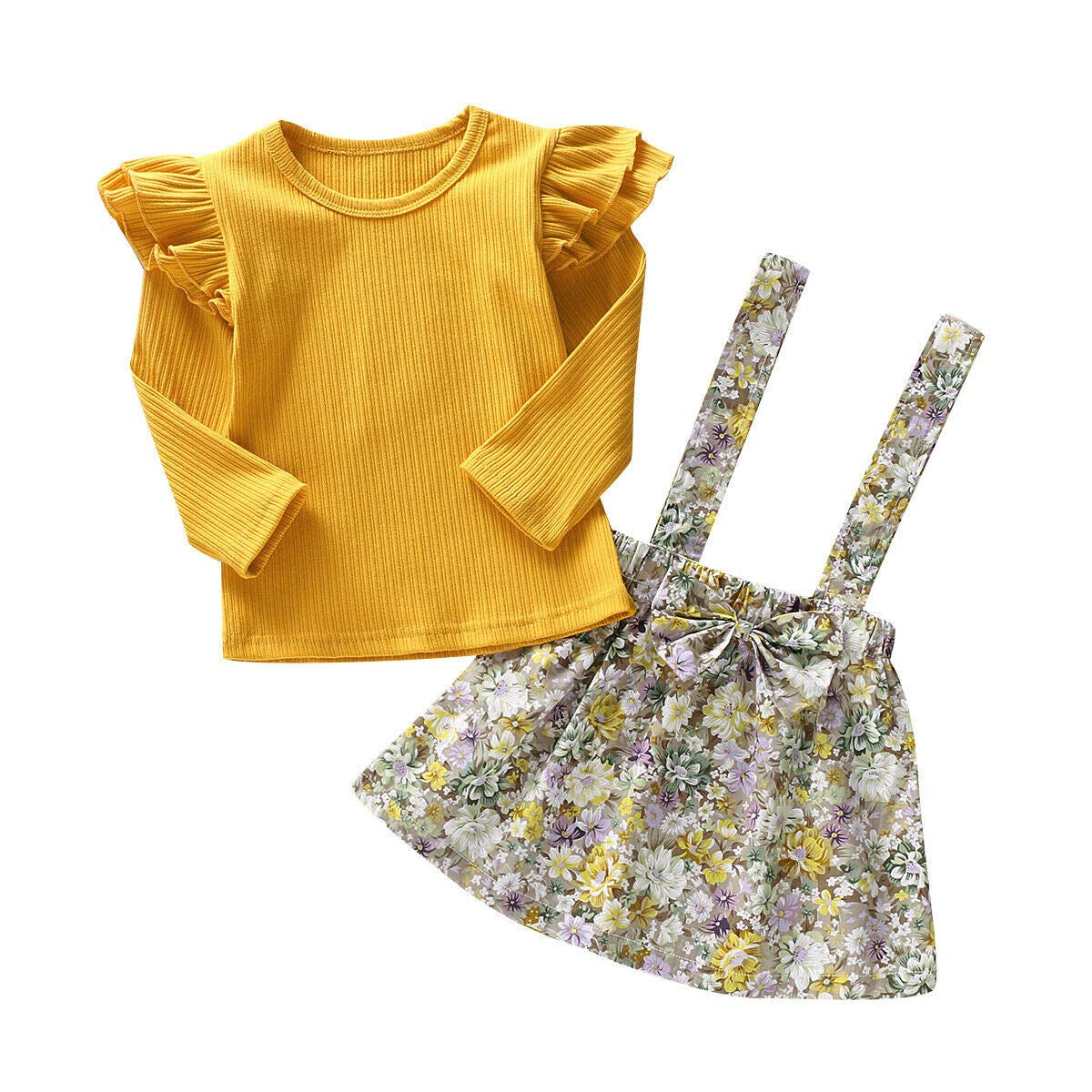 Toddler Girls Outfits 2PCS Baby Romper Clothes Set Little Girls Floral Jumpsuit Rompers Strap Skirt Outfits