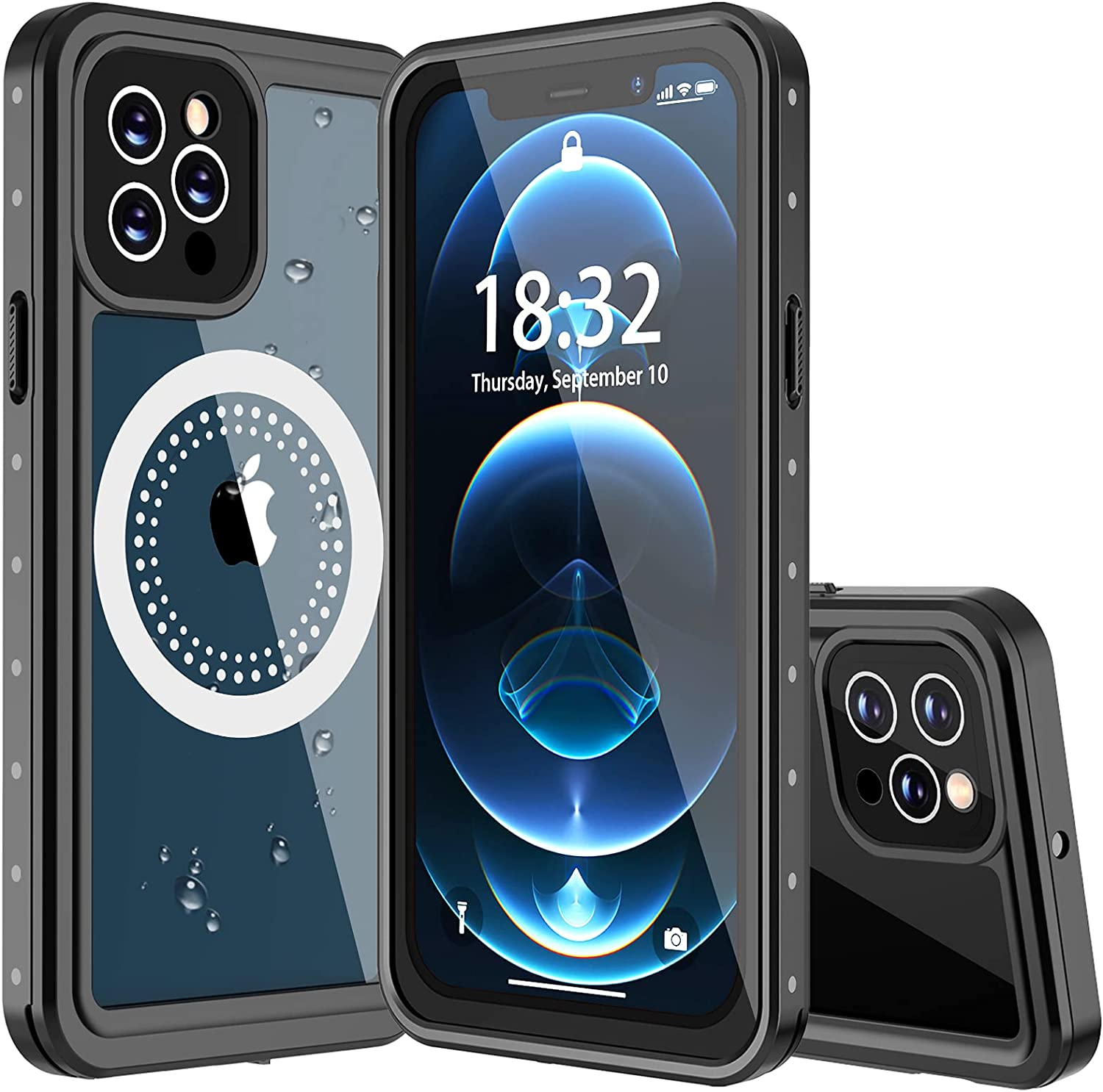 Nineasy for iPhone 12 Pro Max Case Waterproof, Built in Magnets with Screen Protector Heavy Duty Shockproof IP68 Waterproof Case for iPhone 12 Pro Max 6.7inch (Compatible with All MagSafe Accessories)