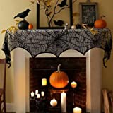 "18""x 96""Halloween Spider Web Decoration Valance Cobweb Mantel Fireplace Scarf Door Window Lace Spiderweb Mantle Scarf Runner Festive Party Supplies for Halloween Parties, Décor & Spooky Meals, Black"