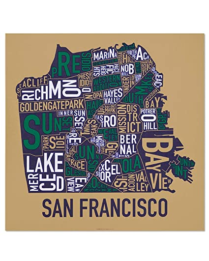 Amazon Com Ork Posters San Francisco Neighborhoods Map Art Screen