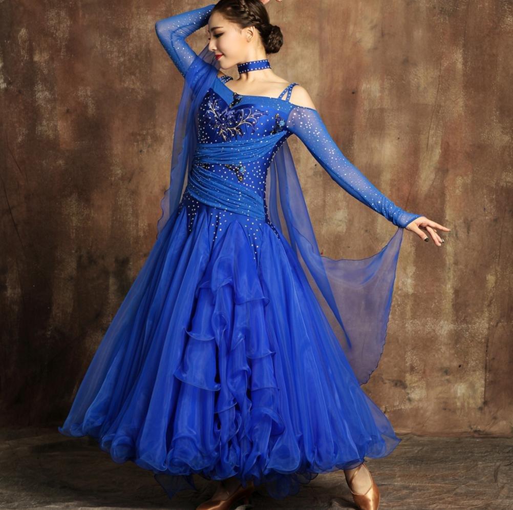 Wanson Lange Ärmel Modernes Modernes Modernes Tanzkleid Für Frauen Luxus Kostüm Performance Große Schaukel Ballroom Dance Wettbewerb Kleider B078HVYP3G Bekleidung Produktqualität 4ee79d