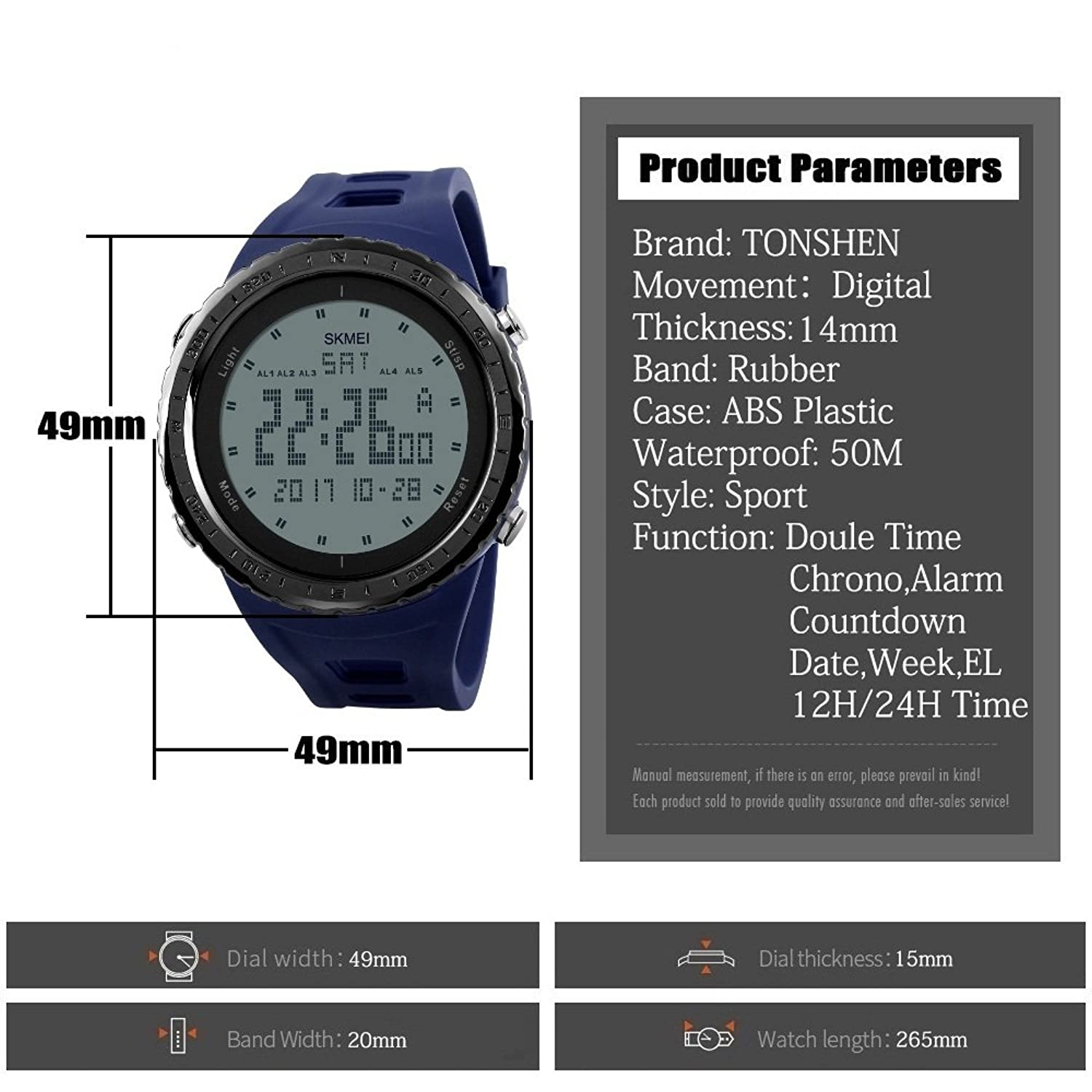 Amazon.com: TONSHEN Mens Multifunction Digital 50M Waterproof Watch Outdoor Sport Watch Military 12H/24H Time LED Display 5 Alarm Rubber Strap Watch - Blue: ...