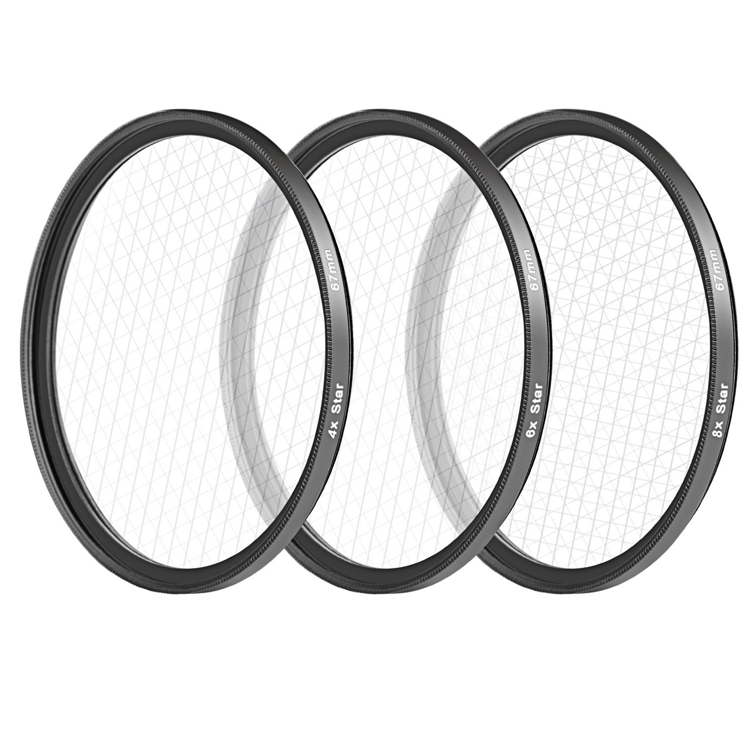 Neewer 67MM 3 Pieces Points Star Lens Filters Kit for Canon EOS Rebel T5i T4i T3i T3 T2i T1i DSLR Camera with a 18-135MM Zoom Lens, Made of HD Glass and Aluminum Frame Material (Black) by Neewer
