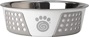 PetRageous 13096 Fiji Stainless-Steel Non-Slip Dishwasher Safe Dog Bowl 6.5-Cup Capacity 8.5-inch Diameter 2.75-inch Tall for Large and Extra Large Dogs, White/Light Gray