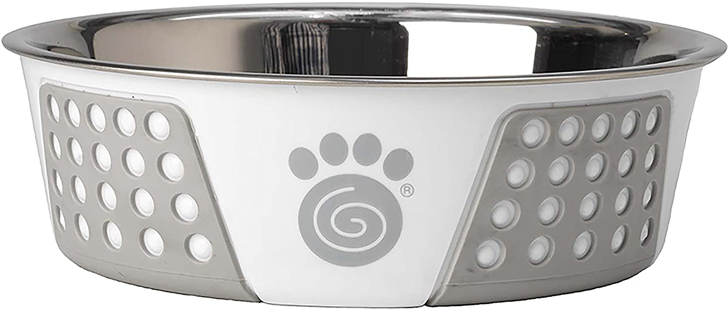 Pet Rageous Fiji 6.5 Cups Stainless Steel Bowl in White/Light Gray
