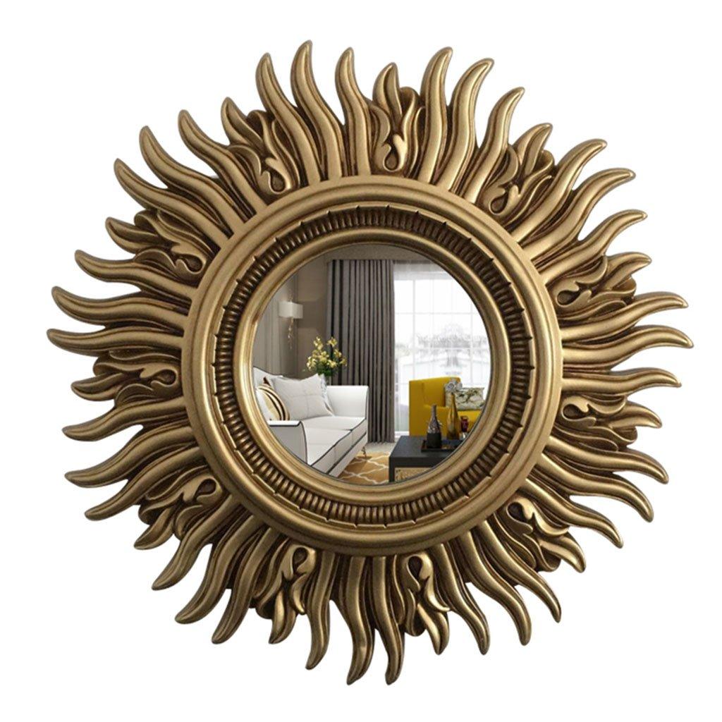 Ancient gold Sunhai Decorative Mirror Europe and America Retro Wall Hanging Mirror Dressing Porch Mirror Bedroom Bathroom Mirror (color   Ancient gold)