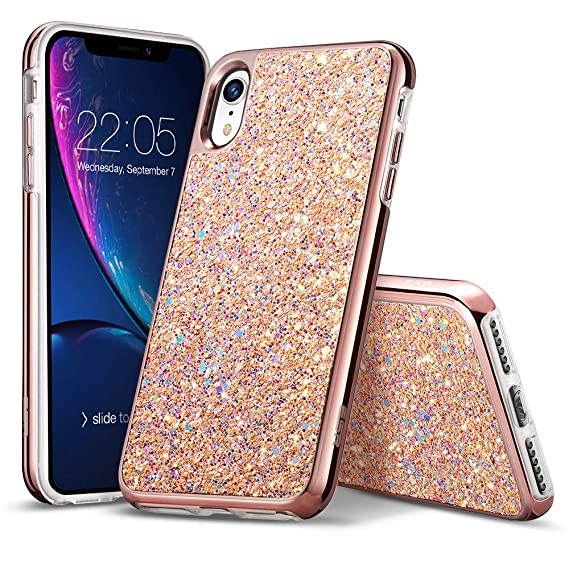 separation shoes a504b 4a55c ESR Glitter Hard Case for iPhone XR, Glitter Bling Hard Cover with  Dual-Layer Structure [Hard PC Back Exterior + Soft TPU Interior] for Women  ...