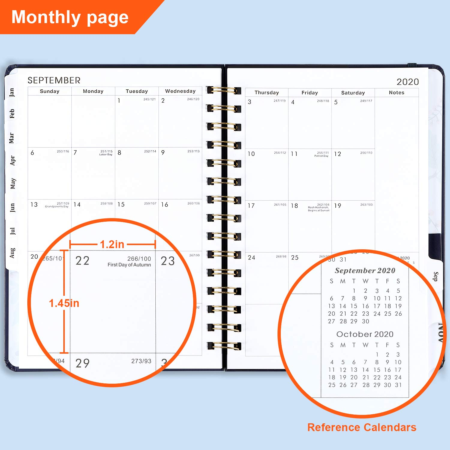 Floral Cover with Twin-Wire Binding Planner 2020 January 2020 Inner Pocket Banded 6.30 x 8.45 Thick Paper December 2020 Weekly /& Monthly Planner with Tabs