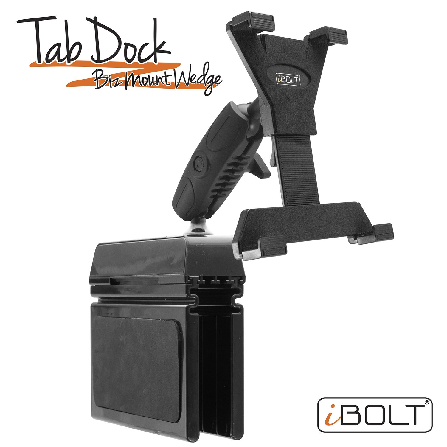 iBOLT TabDock Bizmount Wedge - Heavy Duty Vehicle Console mount for all 7'' - 10'' tablets (iPad, Nexus, Samsung Tab). Great for work, personal, and business vehicles