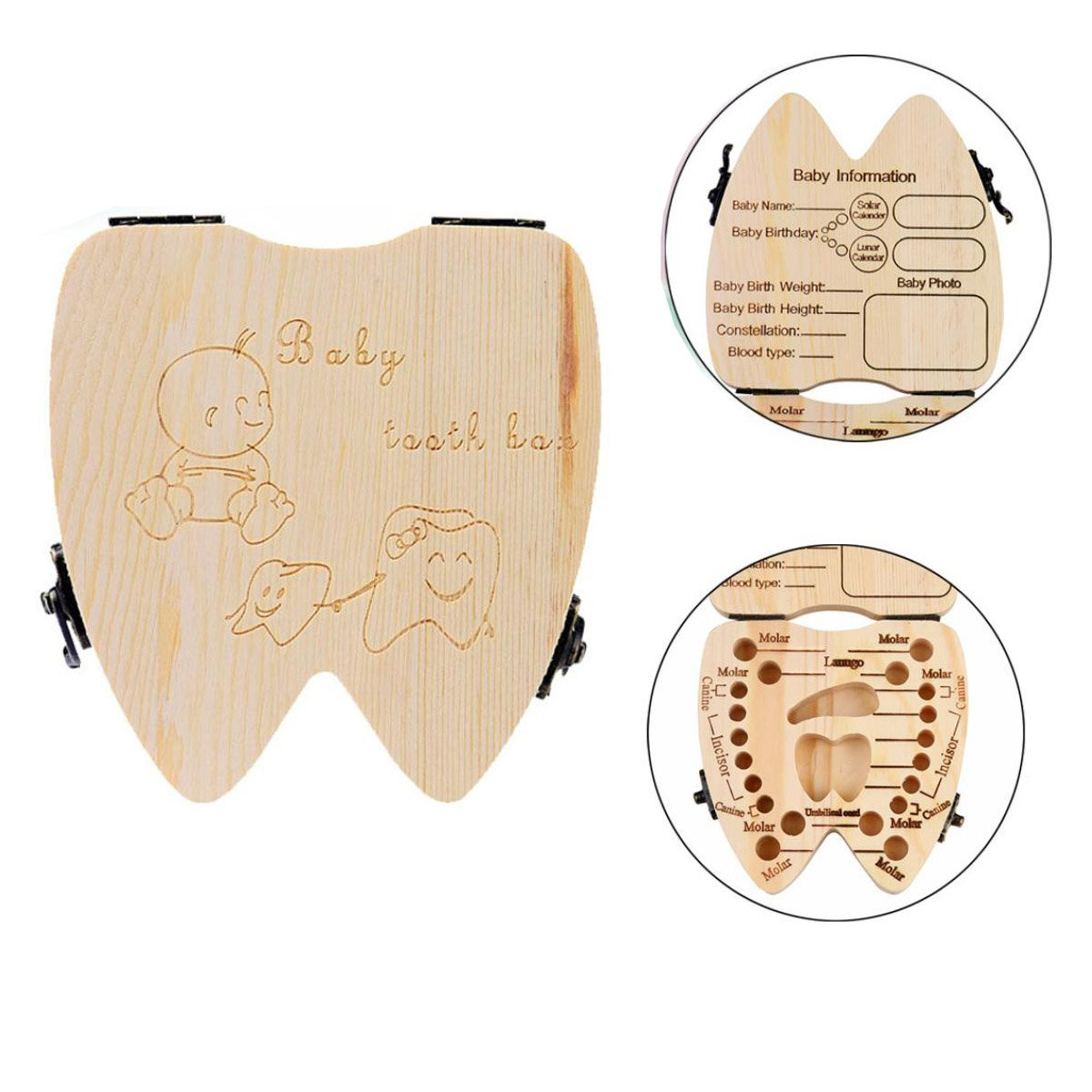 Oucan Baby Wooden Teeth Save Box Milk Teeth Wood Case Storage Kids Keepsake Organizer Teeth Collection Souvenir Box for Kids Boys Girls (Style A Girl)