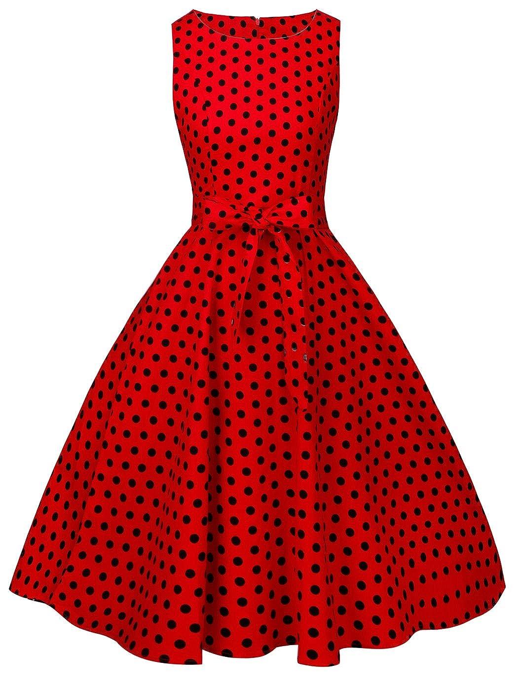 TALLA M. FAIRY COUPLE 50s Vestido de Partido Floral Retro del Oscilación del Cóctel del Vintage con el Arco DRT017 Rojo Pequeña Negro Puntos M