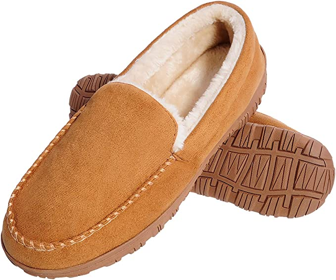NEW MENS ULTRA LIGHT MOCCASIN HARD SOLE FUR LINED SOFT COMFORT SLIPPERS SIZE