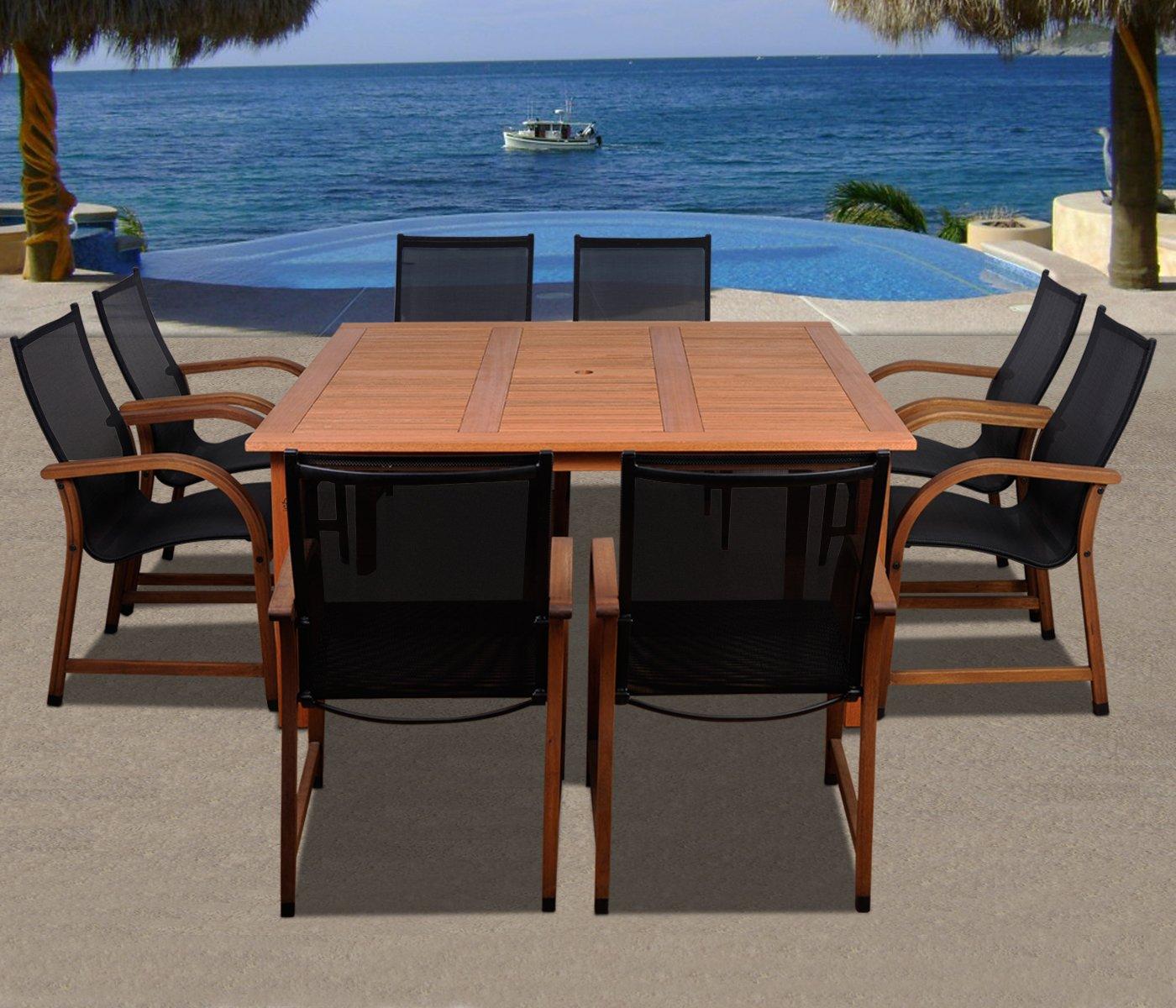 Amazon.com: Amazonia Bahamas 9 Piece Eucalyptus Square Dining Set: Garden U0026  Outdoor