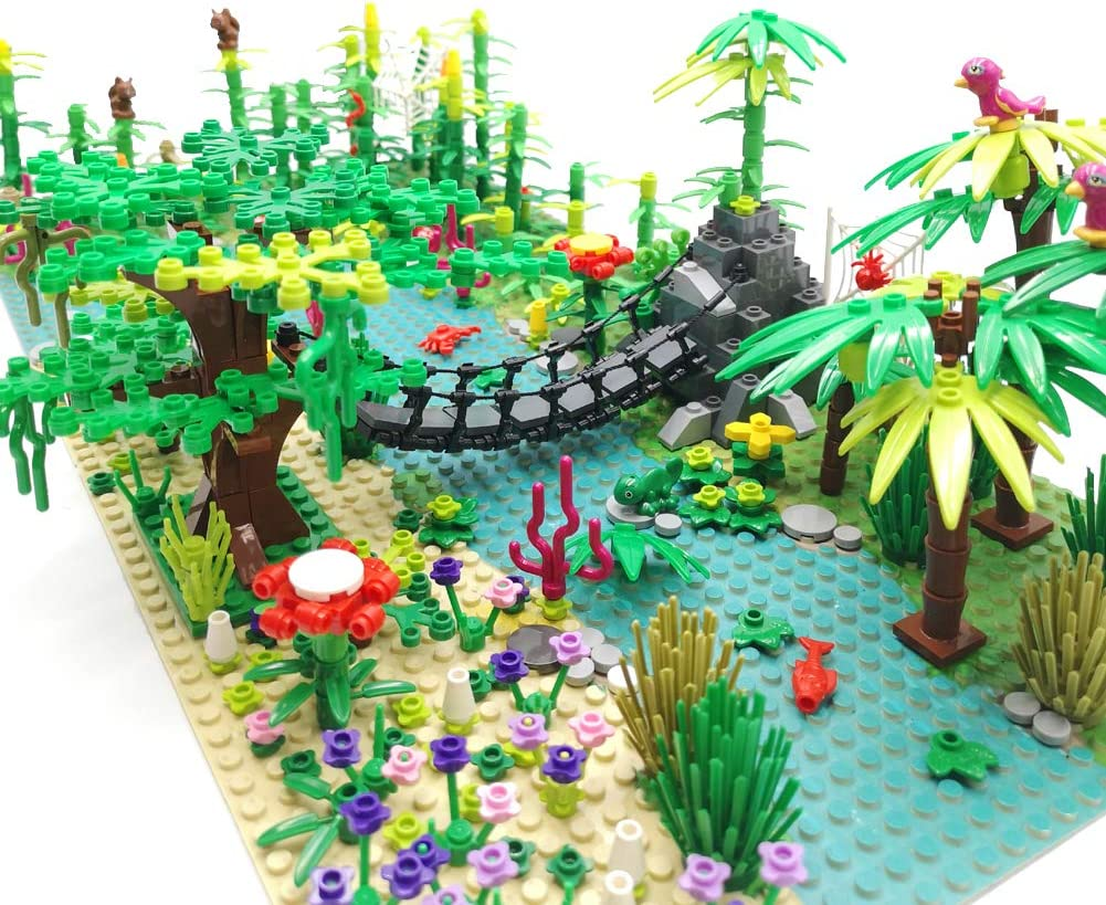 Rainforest Jungle Bridge Building Block Toys with 2pcs Baseplates(10x10 inches Each) Garden Bricks Accessories Bush Flowers Animals Coconut Trees for Classic Brick Block Toys