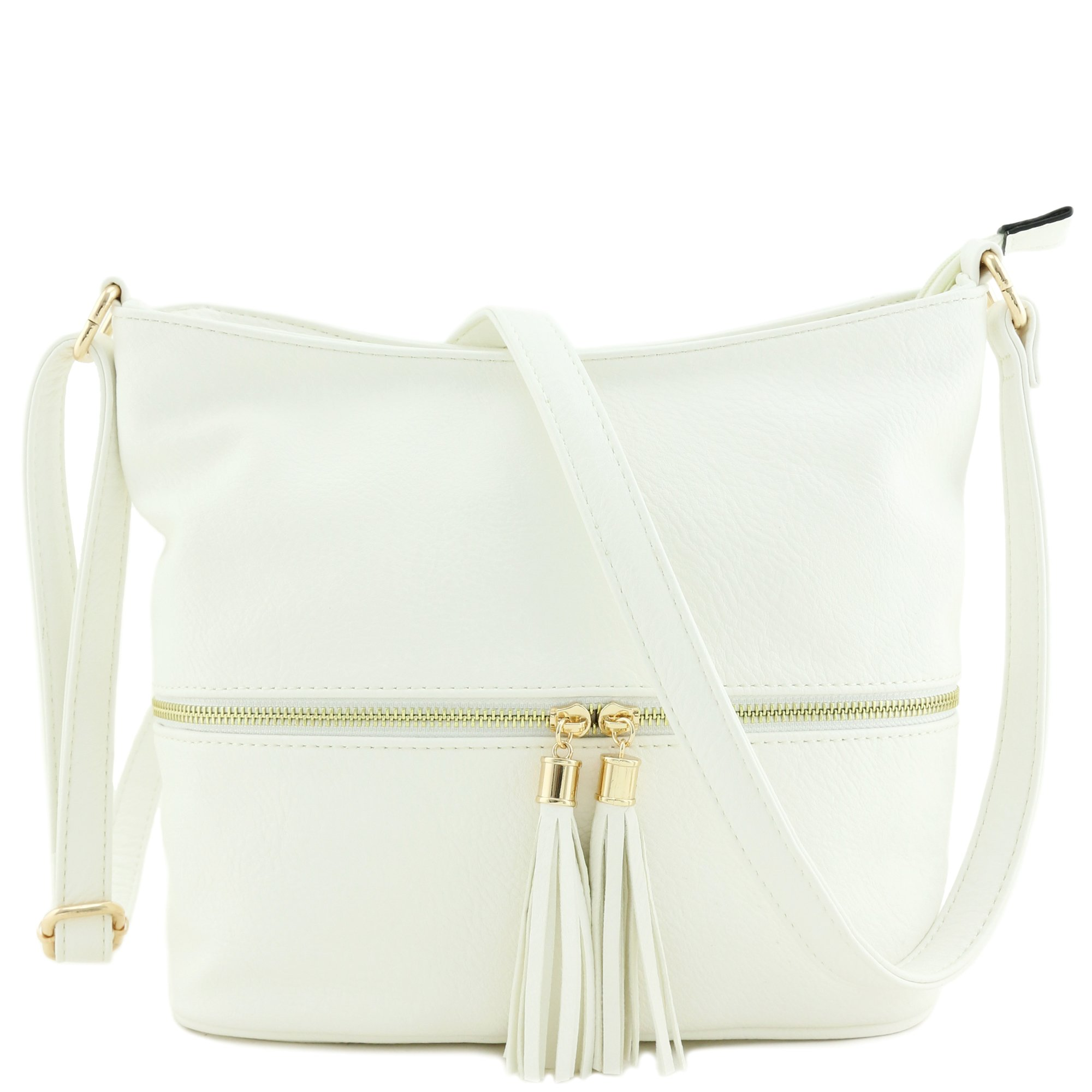 212431134 Galleon - Tassel Zipper Bucket Crossbody Bag (White)