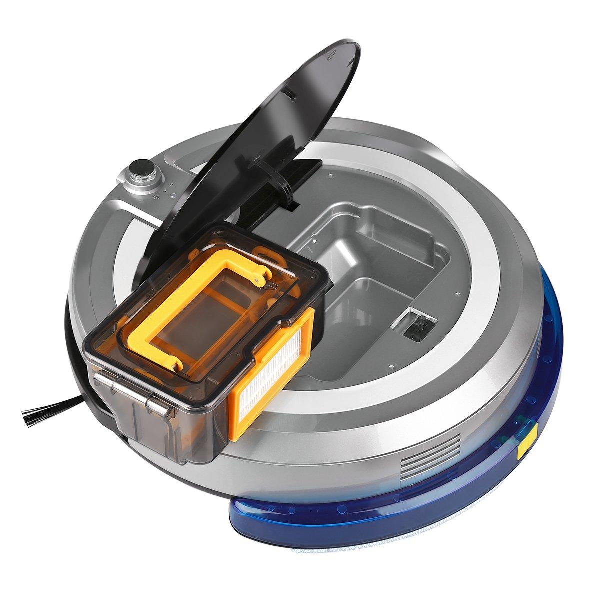 Jisiwei i3 - Robot Aspirador Controle por Movil localización visual (Camara HD, 600ML Capacidad, 90-120 mins, Suelo de cerámica, madera, mármol o alfombra), ...