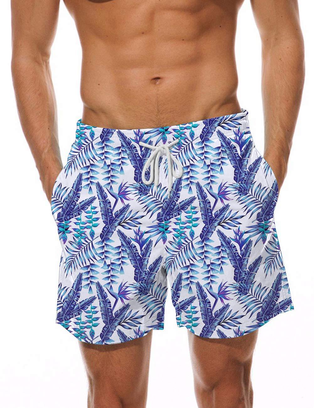 AIDEAONE Teen Boys Swim Trunks Quick Dry 5'' Waterproof Beach Shorts Casual Hawaiian Surfing Pants Swimwear L