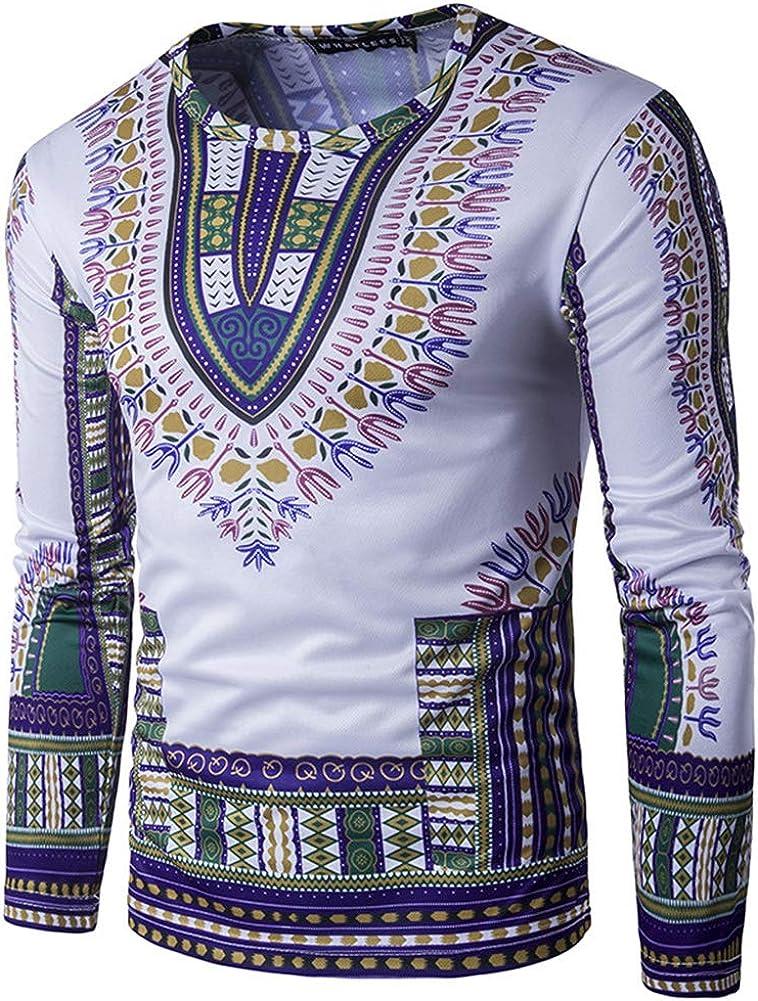 Skyyeox Unisex Long Sleeve Fashion African Dashiki Printing Men Hoodies with Pocket Sweatshirts