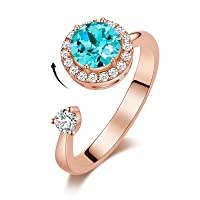 Rotating Birthstone Rings for Girls Womens Birthday Christmas Jewelry Gifts Embellished with Austria Crystals Rose Gold/Rhodium Plated Adjustable Size 7-9 for Girlfriend Wife