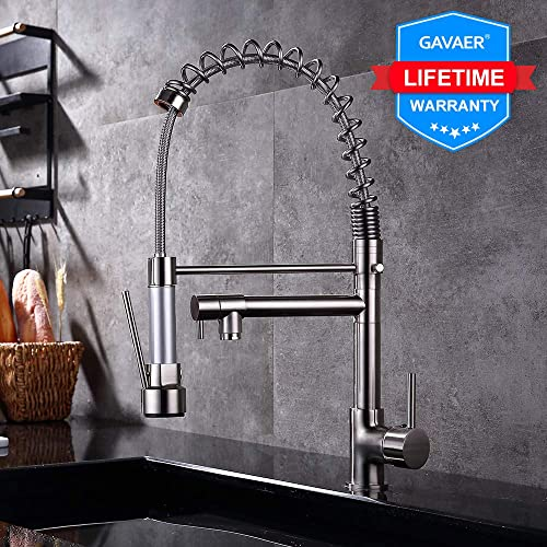 GAVAER Kitchen Faucet, Modern Spiral Spring Sink Faucet, 360 Swivel Range Adjustable Double Nozzle Faucets,Cold And Hot Water Available, Single Handle Copper Kitchen Faucets, Brushed Nickel