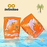 infinitoo Schwimmflügel Kinder, Schwimmhilfe Baby, Schwimmreifen für Kinder und Kleinkinder von 2-6 Jahre, 15-30kg, Schwimmscheiben mit Delphin Design für Schwimmbad, Pool, Strand Etc