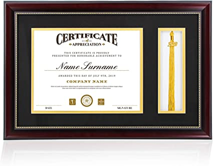 Graduatepro Certificate Frame With Tassel Graduation Diploma Frame 8 5x11 With Mat Glass Wooden Amazon Co Uk Kitchen Home