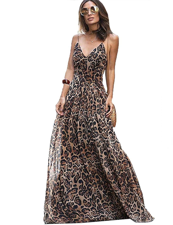 Dark Coffee MinGe Women Fashion Strap Dress Leopard Pattern VNeck Long Sling Dress bluee