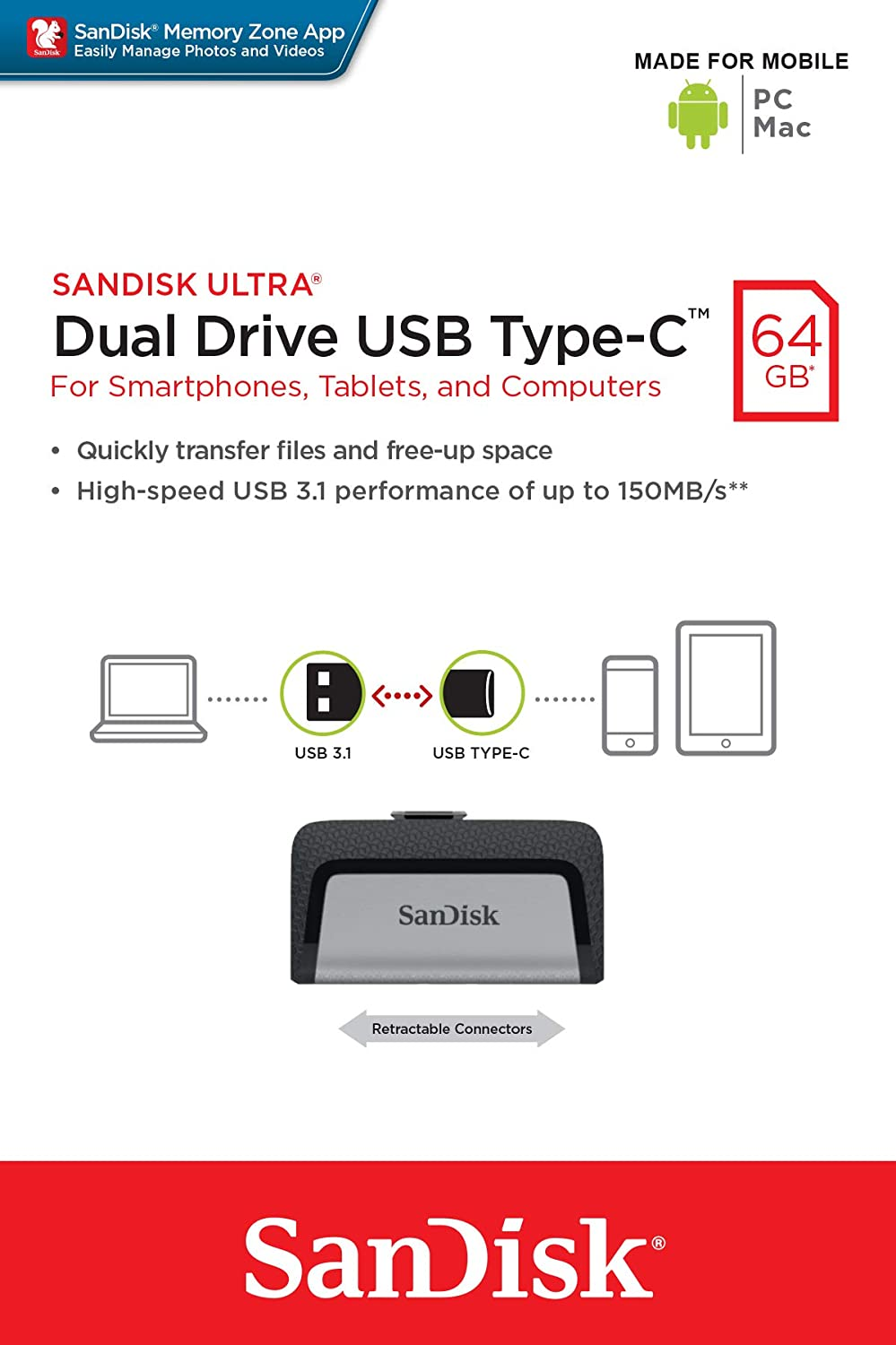 ec0c3d4568984 SanDisk Ultra 64 GB Dual Type-C USB 3.0 Flash Drive  Amazon.ae