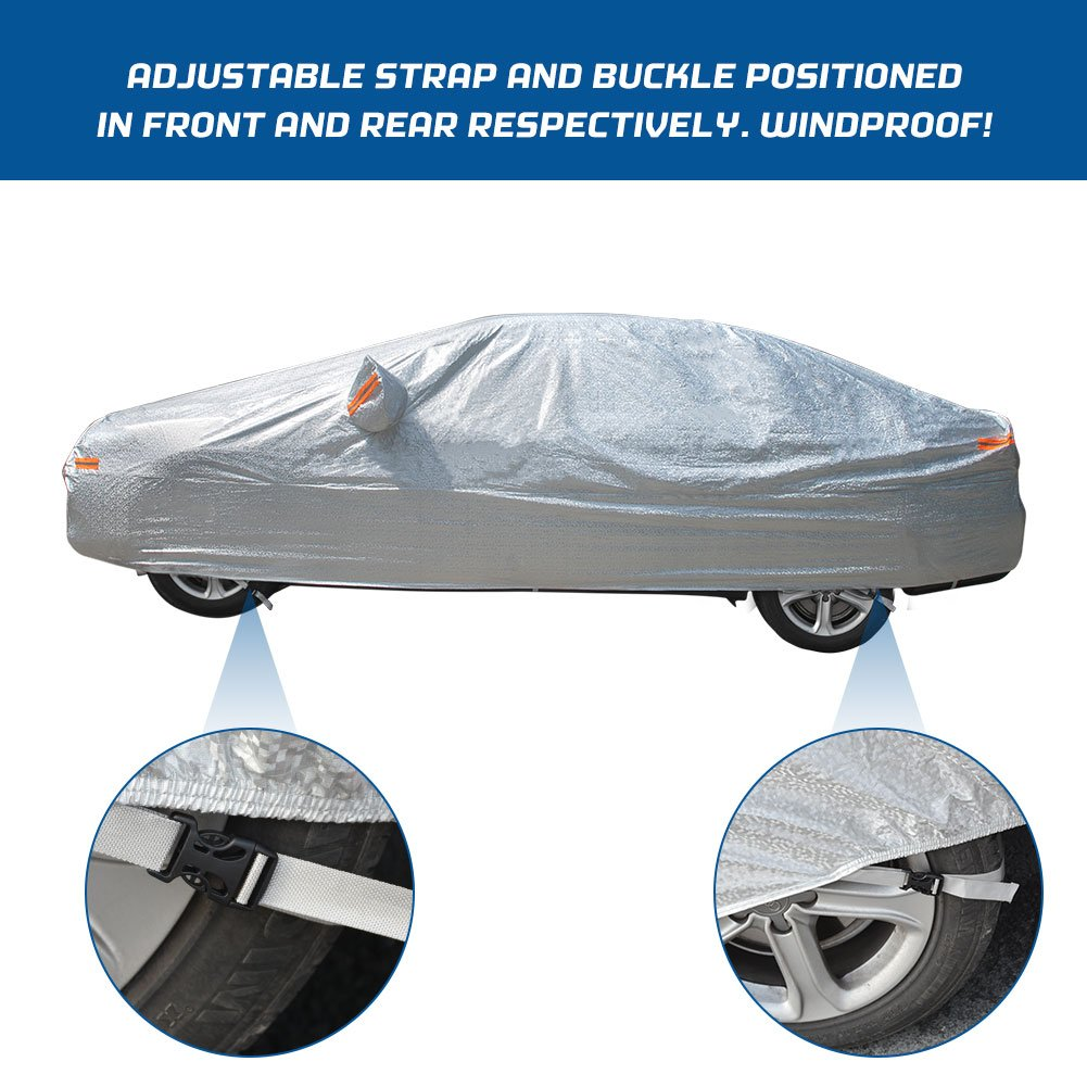 YITAMOTOR All Weather Waterproof Car Cover with Lock Universal Fit UV Protection Dust Snow Heat Resistant Outdoor Protector Fits Cars up to 188 inches Dark Blue