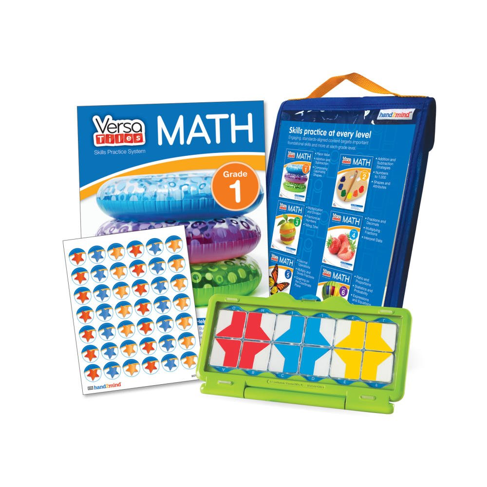 hand2mind VersaTiles Math Practice Take Along Set (Grade 1), Allow Kids to Learn, Practice & Self-Check Essential Math Skills at Home, Independent Activities for Kids by hand2mind