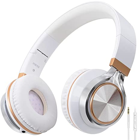 BienSound HW50 Stereo Folding Headsets Strong Low Bass Headphones with Microphone for iPhone, All Android Smartphones, PC, Laptop, Mp3/mp4, Tablet Macbook Earphones (white/gold) Headphones at amazon