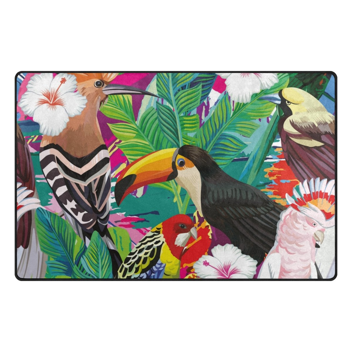 U LIFE Vintage Wild Animals World Tropical Forest Birds Floral Flowers Large Doormats Area Rug Runner Floor Mat Carpet for Entrance Way Living Room Bedroom Kitchen Office 31 x 20 Inch