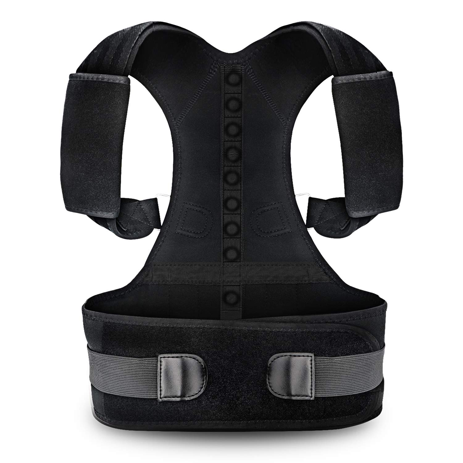 Posture Corrector for Men and Women KarmaRebirth Back Brace with Fully Adjustable Straps Shoulder Cushion Magnet Belt Improves Posture Provides Lumbar Support Relieve Lower and Upper Back Pain(M)