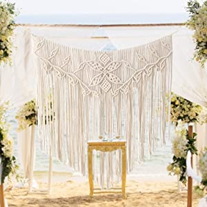 Boho Macrame Wall Hanging,Macrame Tapestry,Woven Tapestry, Modern Chic Woven Art,Bohemian Cotton Handmade Home Decor,Beaded Wall Art For Wedding Bedroom Living Room Background Wall (39''X38'')